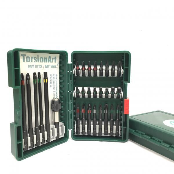 30PCS - TorsoinArt W/Color Groove Black Phosphate Bit Set